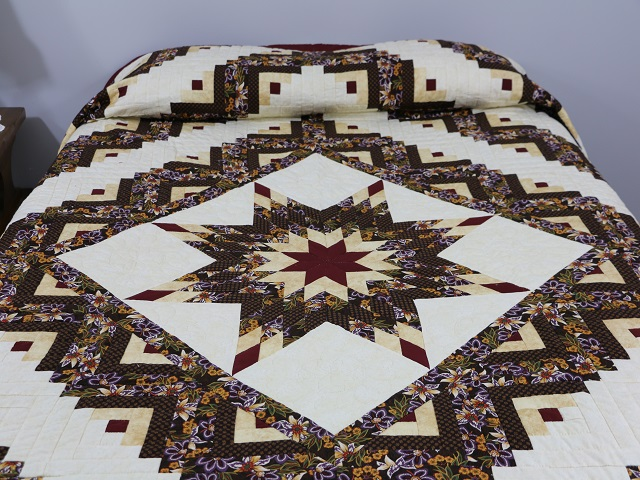 Brown and Gold Lone Star Log Cabin Quilt Photo 1