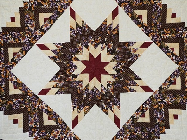 Brown and Gold Lone Star Log Cabin Quilt Photo 3