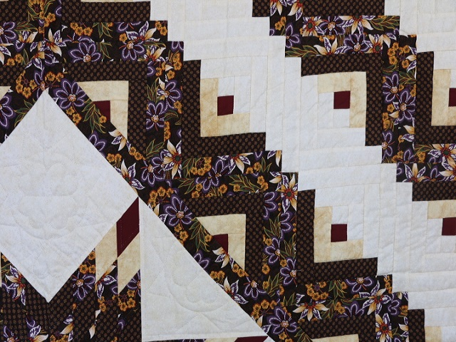 Brown and Gold Lone Star Log Cabin Quilt Photo 4