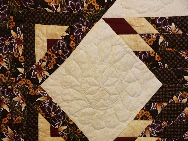 Brown and Gold Lone Star Log Cabin Quilt Photo 6