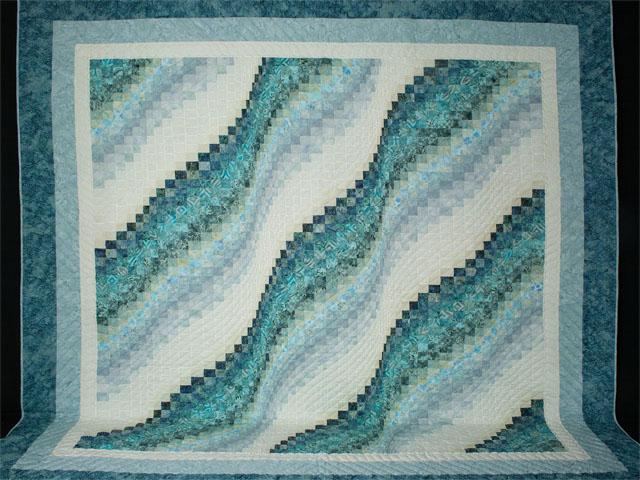Bargello Wave in Ocean Blue Batiks King size bed quilt Photo 2