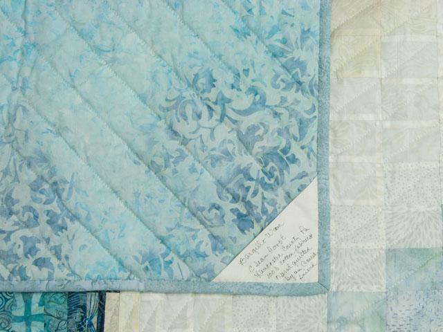 Bargello Wave in Ocean Blue Batiks King size bed quilt Photo 6