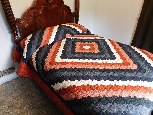 Burnt Orange and Black Ocean Wave Quilt Photo 1