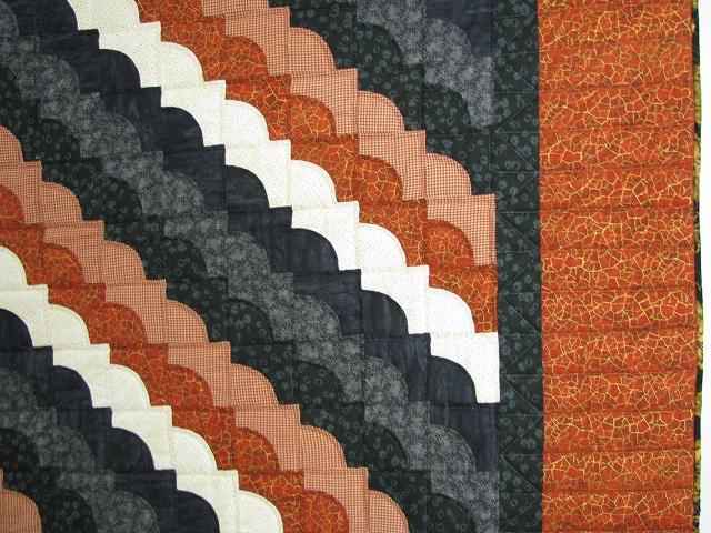Burnt Orange and Black Ocean Wave Quilt Photo 4