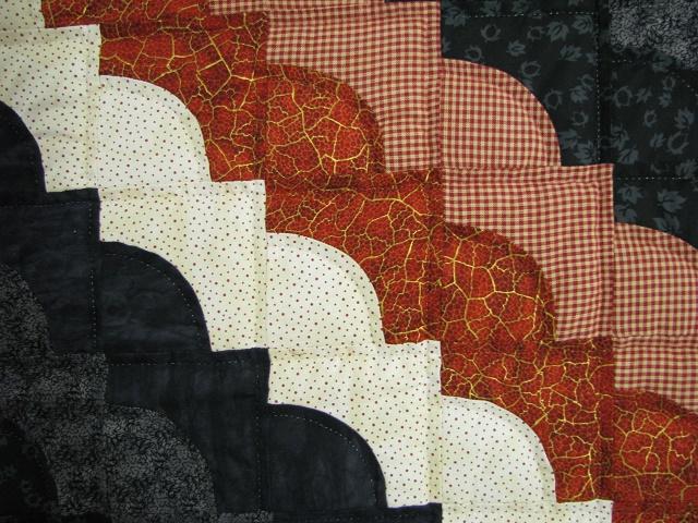 Burnt Orange and Black Ocean Wave Quilt Photo 5