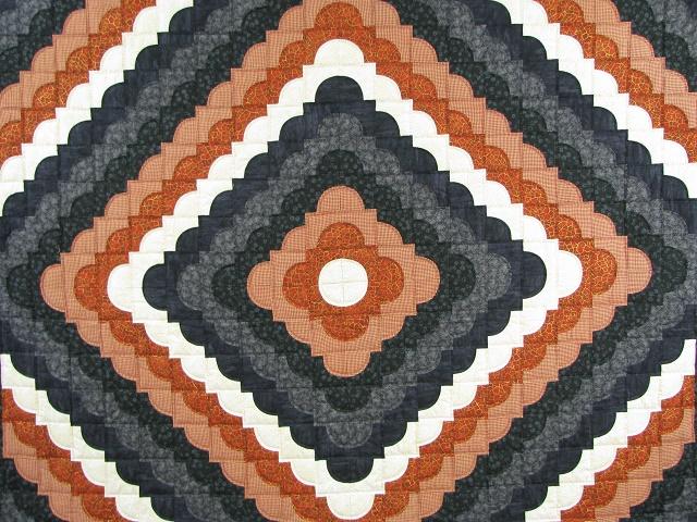 Burnt Orange and Black Ocean Wave Quilt Photo 8