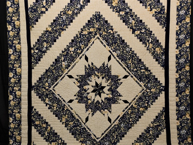 Navy Blue  Lone Star Log Cabin Quilt Photo 2