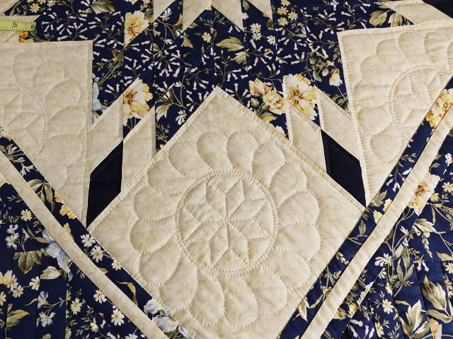 Navy Blue  Lone Star Log Cabin Quilt Photo 6