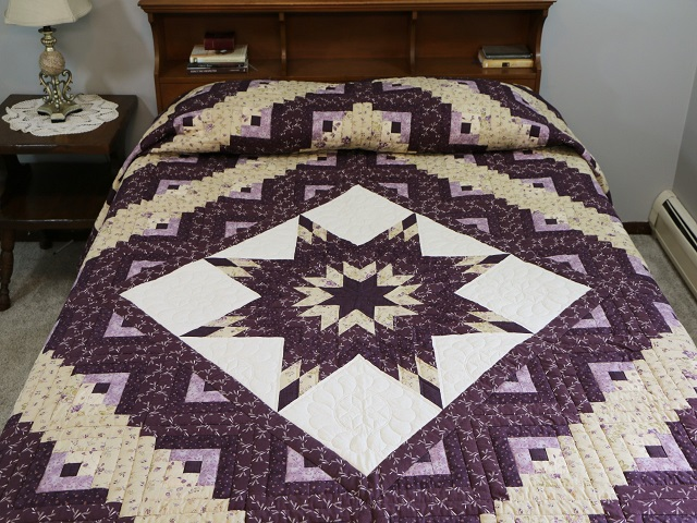 Queen Lone Star Log Cabin Quilt Photo 1