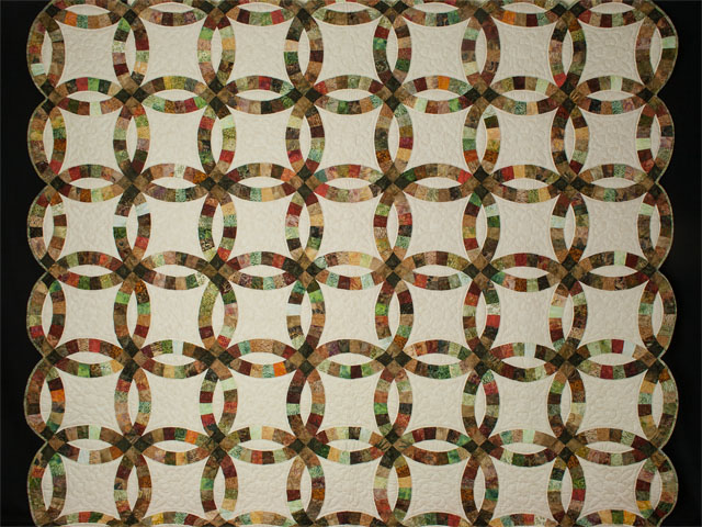 Double Wedding Ring Queen Batiks in Earthtone Greens, Corals, Golds Photo 2