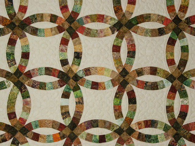 Double Wedding Ring Queen Batiks in Earthtone Greens, Corals, Golds Photo 3