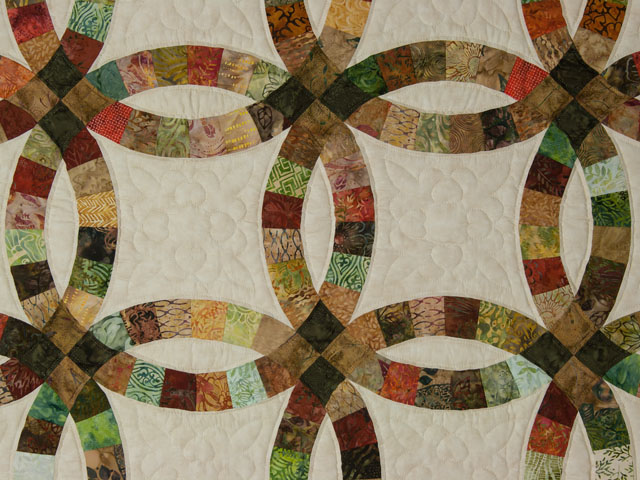 Double Wedding Ring Queen Batiks in Earthtone Greens, Corals, Golds Photo 4