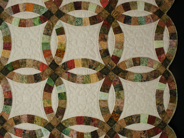Double Wedding Ring Queen Batiks in Earthtone Greens, Corals, Golds Photo 5