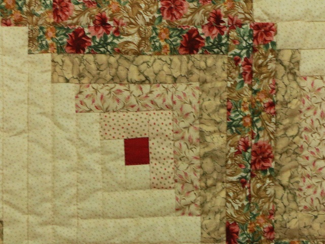 Red and Tan Log Cabin Quilt Photo 5