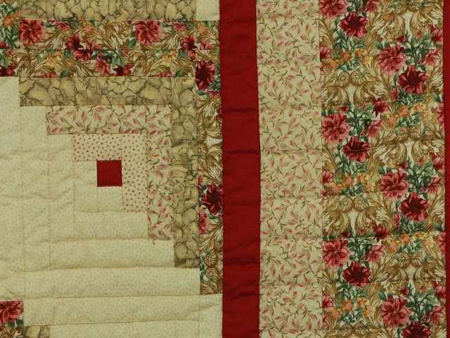 Red and Tan Log Cabin Quilt Photo 7