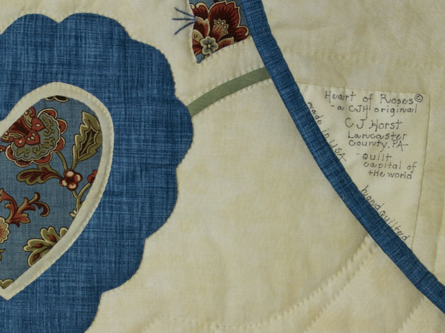 Blue and Green Heart of Roses Quilt in Queen Photo 6