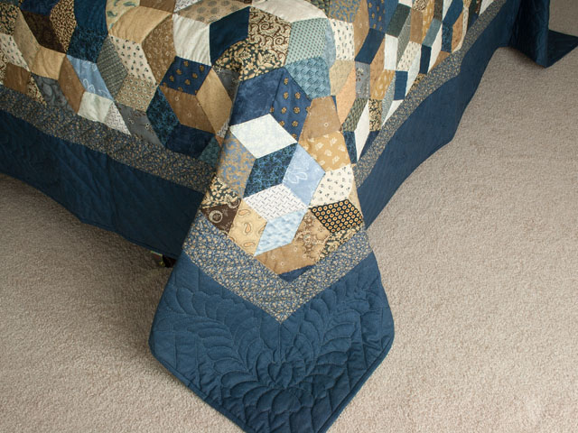 Burgundy and neutral Tumbling Blocks Queen size bed quilt Photo 7