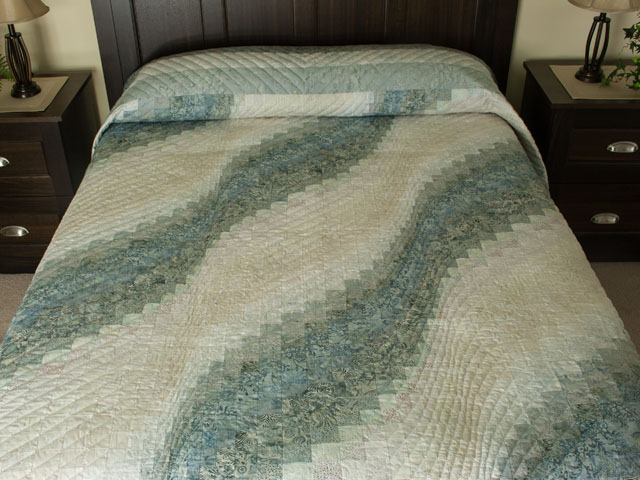 Bargello Wave King Size Soft Ocean Surf Steal Blues,creams Photo 1