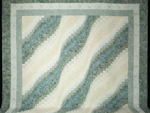 Bargello Wave King Size Soft Ocean Surf Steal Blues,creams Photo 2