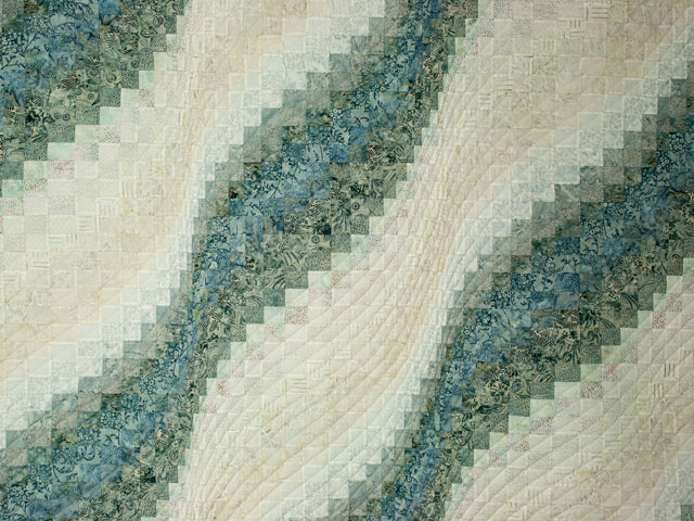 Bargello Wave King Size Soft Ocean Surf Steal Blues,creams Photo 3