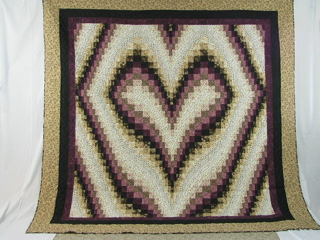Plum and Beige Bargello Heart Photo 2