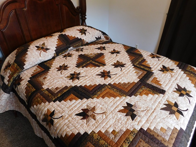 Earth tones Log Cabin Splendor Quilt Photo 1