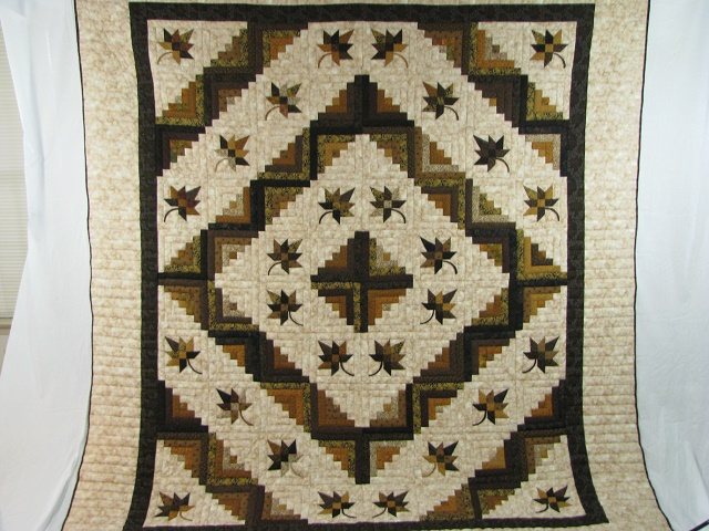 Earth tones Log Cabin Splendor Quilt Photo 2