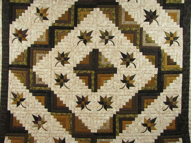 Earth tones Log Cabin Splendor Quilt Photo 3