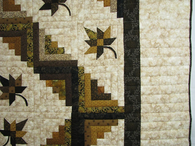 Earth tones Log Cabin Splendor Quilt Photo 4
