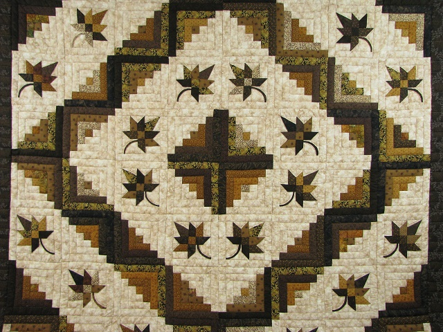 Earth tones Log Cabin Splendor Quilt Photo 8