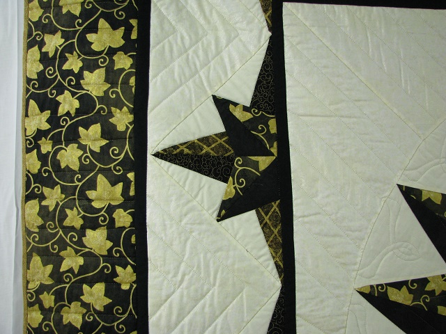 Black and Gold Double Compass Quilt Photo 4