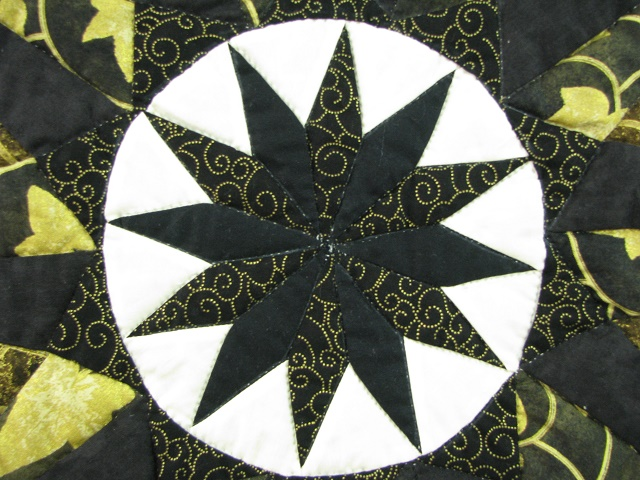 Black and Gold Double Compass Quilt Photo 6