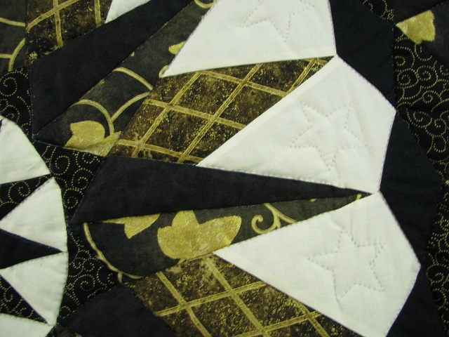Black and Gold Double Compass Quilt Photo 7