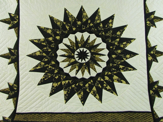 Black and Gold Double Compass Quilt Photo 8