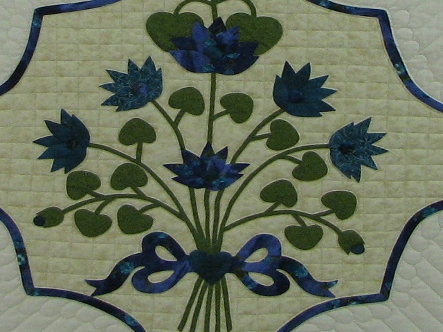 Teal Lotus Blossom Bouquet Quilt Photo 3