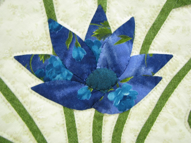 Teal Lotus Blossom Bouquet Quilt Photo 6