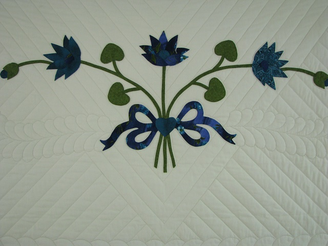 Teal Lotus Blossom Bouquet Quilt Photo 7