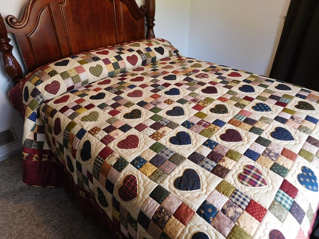 King Burgundy Hearts and Nine Patch Quilt Photo 1