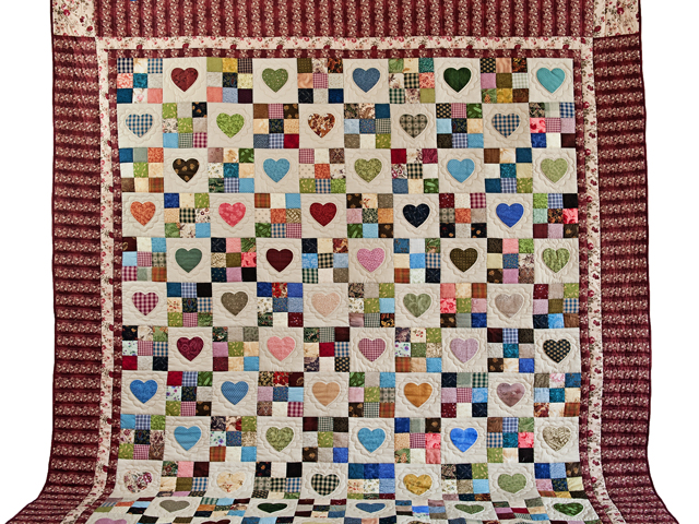 King Burgundy Hearts and Nine Patch Quilt Photo 2