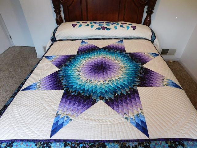 Purple and Teal Lone Star Quilt Photo 1