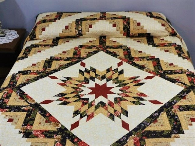 Brown Green-Gold Lone Star Log Cabin Quilt Photo 1