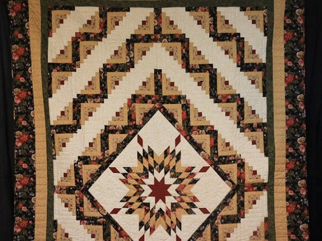 Brown Green-Gold Lone Star Log Cabin Quilt Photo 2