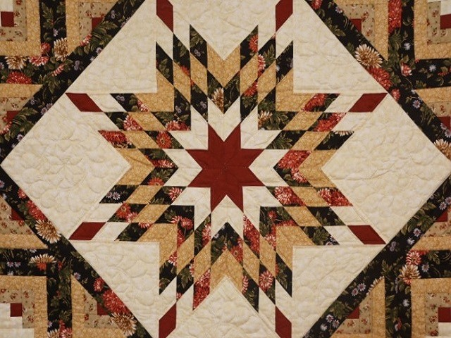 Brown Green-Gold Lone Star Log Cabin Quilt Photo 3