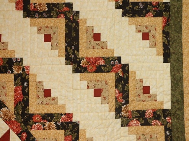 Brown Green-Gold Lone Star Log Cabin Quilt Photo 4