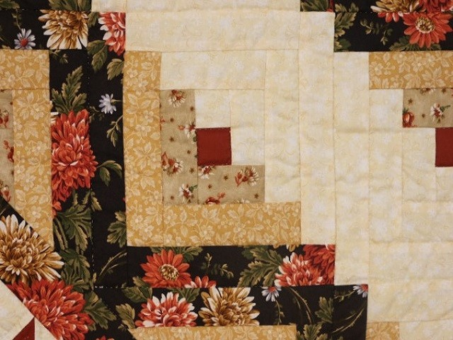 Brown Green-Gold Lone Star Log Cabin Quilt Photo 5