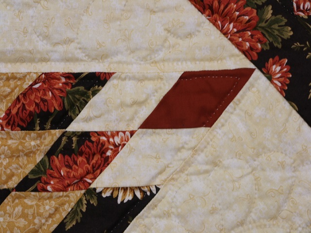 Brown Green-Gold Lone Star Log Cabin Quilt Photo 6
