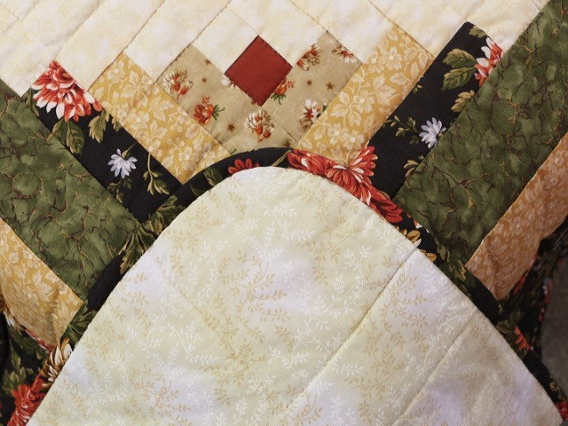 Brown Green-Gold Lone Star Log Cabin Quilt Photo 8