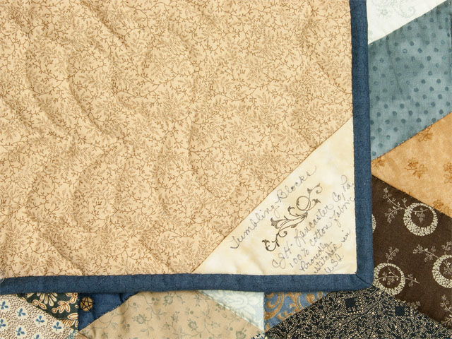 Vintage Blues and neutrals - Tumbling Blocks