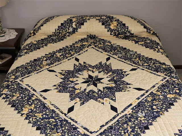 Navy Blue  Lone Star Log Cabin Quilt Photo 1