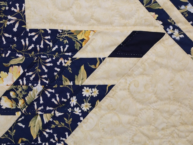 Navy Blue  Lone Star Log Cabin Quilt Photo 4